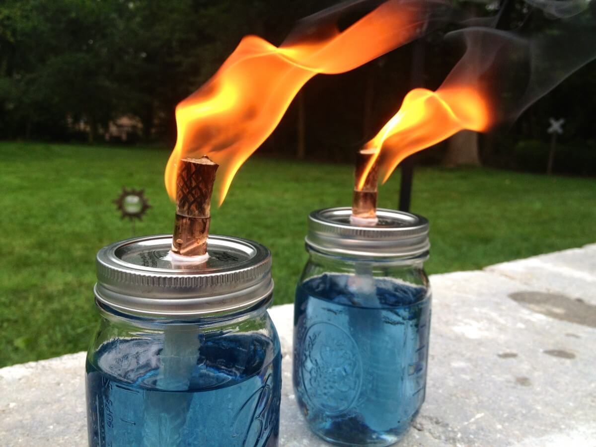 Mason Jar Back Porch Tiki Torch