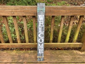 Vertical Distressed Handmade Welcome Sign