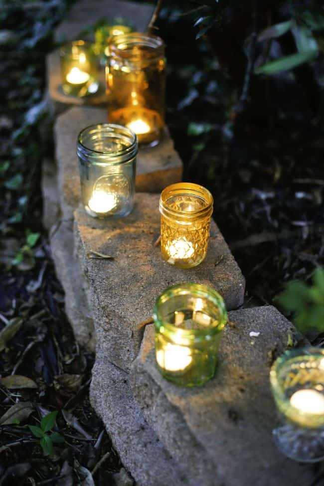 Eclectic Multi-Colored Glass Votive Candle Jars