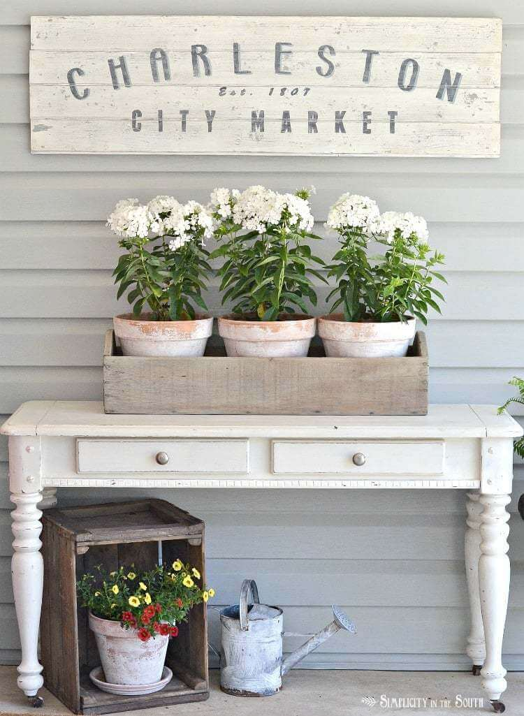 Whitewashed and Rustic Decorative Floral Display