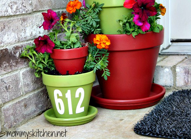 Three-Tiered Planter with Clay Pots