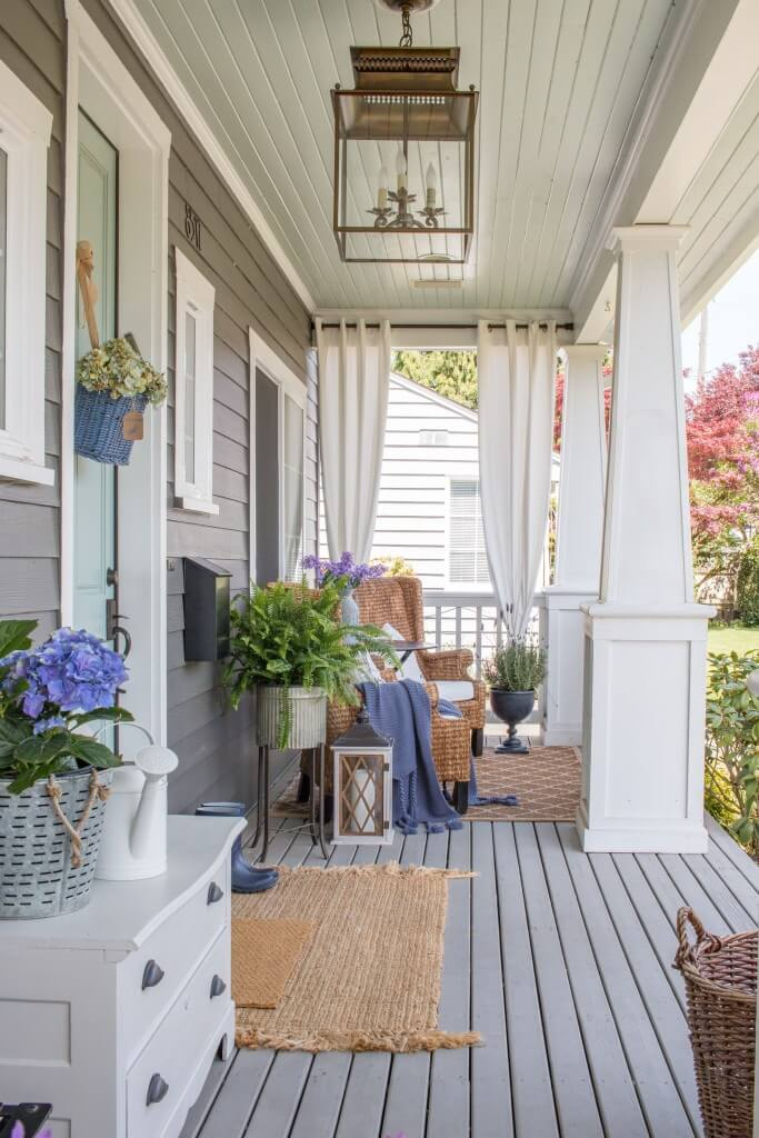 Lavender and Wicker Porch with Hanging Lantern