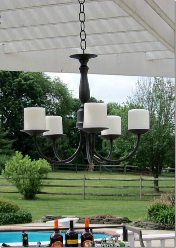 Painted Black Classic Candle Chandelier for Outdoors