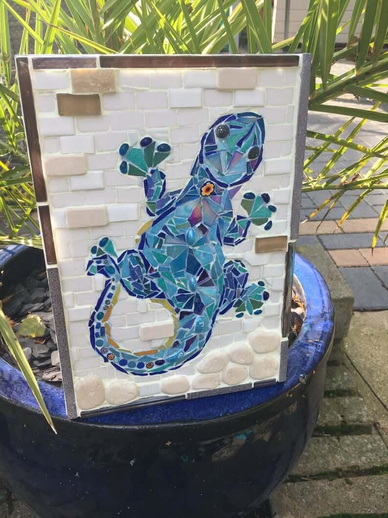 Climbing Gecko Mosaic Garden Art