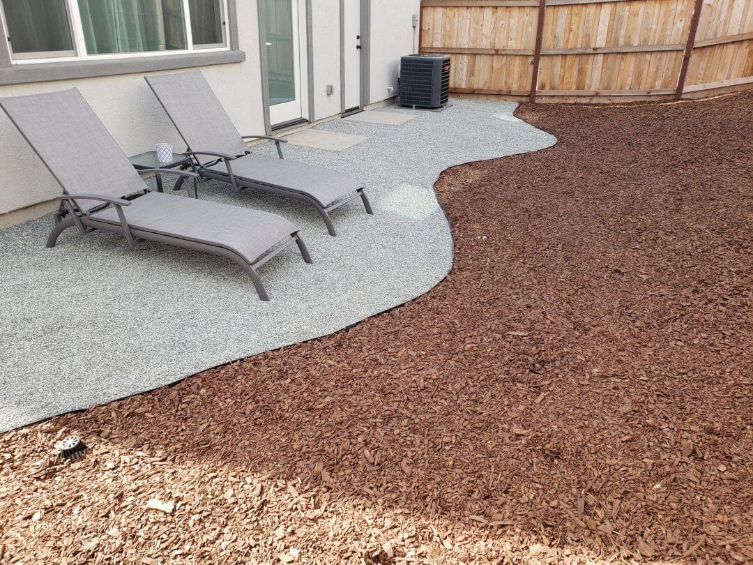 Mulch and Gravel Backyard Patio