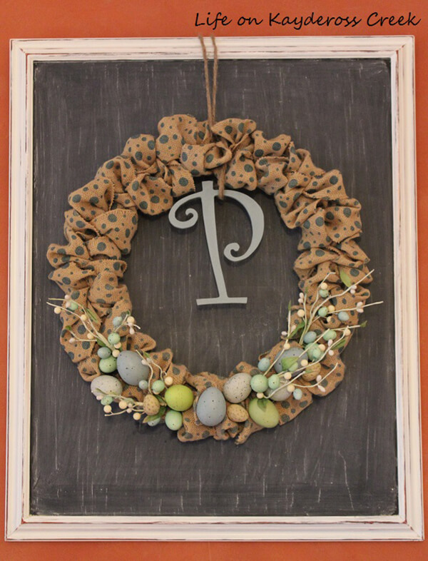 Monogrammed Burlap Ribbon Spring Wreath