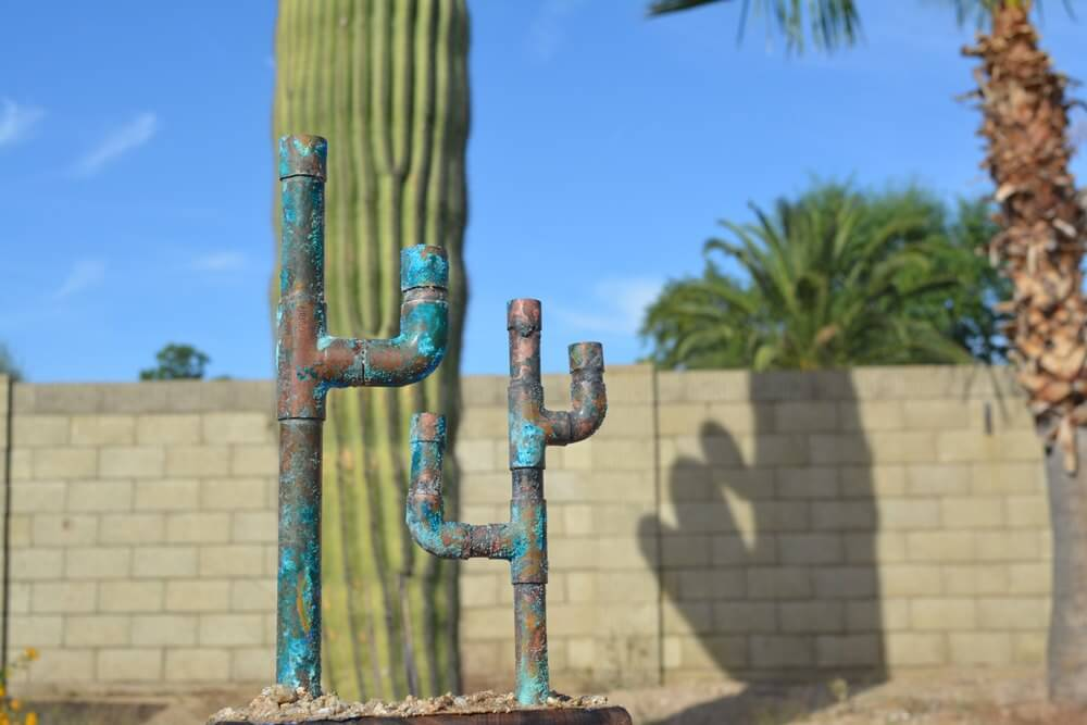 Galvanized Metal Pipes Quirky and Cool Cactus Sculptures