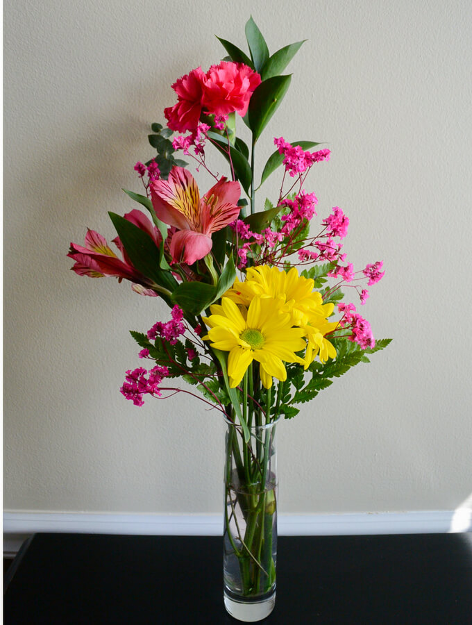 Bold and Bright Yellow and Pink Arrangement