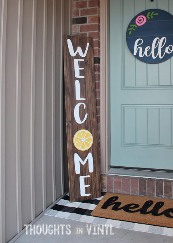 Lemon Insert Vertical Welcome Sign