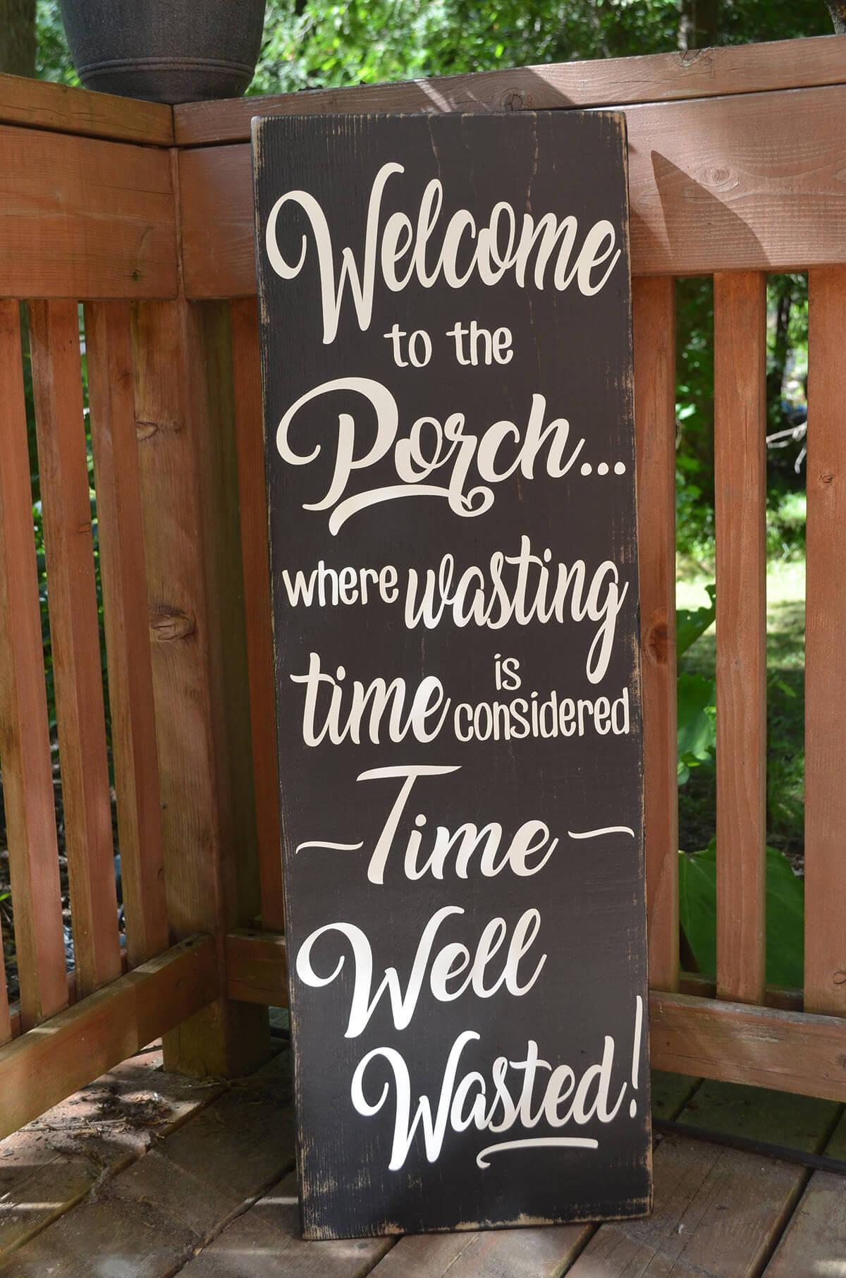 Black Painted Wooden veranda Sign