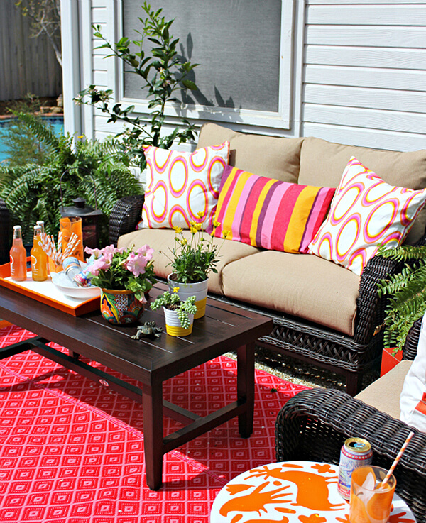 Colorful Backyard Seating for Added Fun