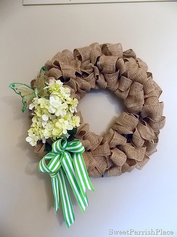 Burlap Loop Wreath with Spring Embellishments