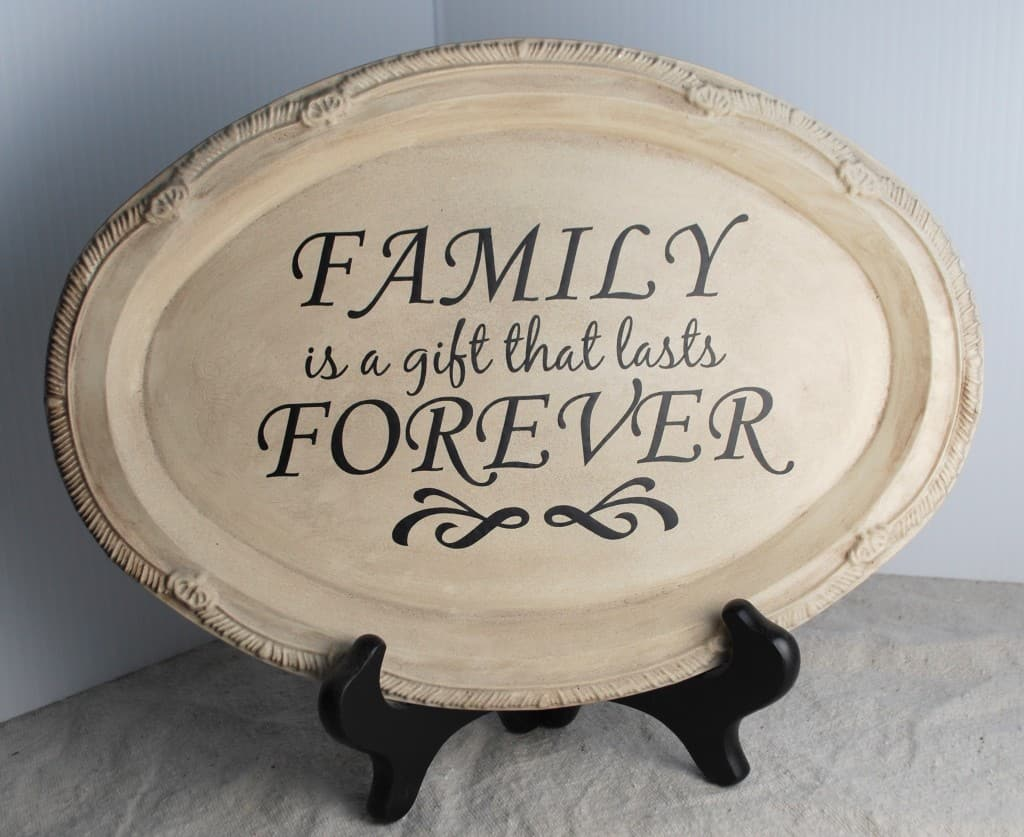Antiqued Family is Forever Decorative Display Tray