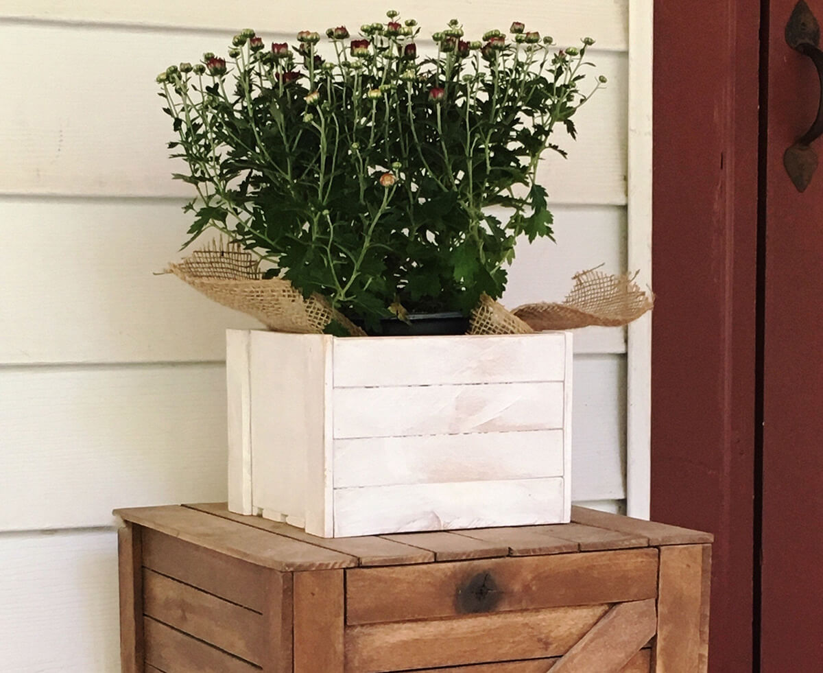 Small Planked Wooden Farmhouse Planter
