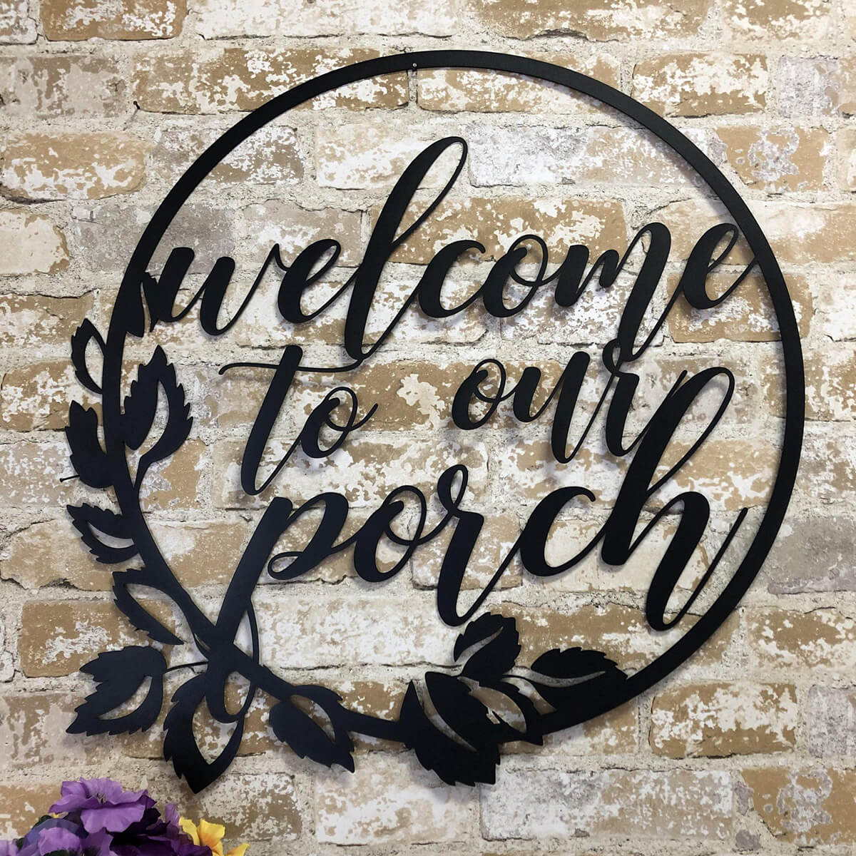 "Metal ""Welcome to Our Porch"" Sign"