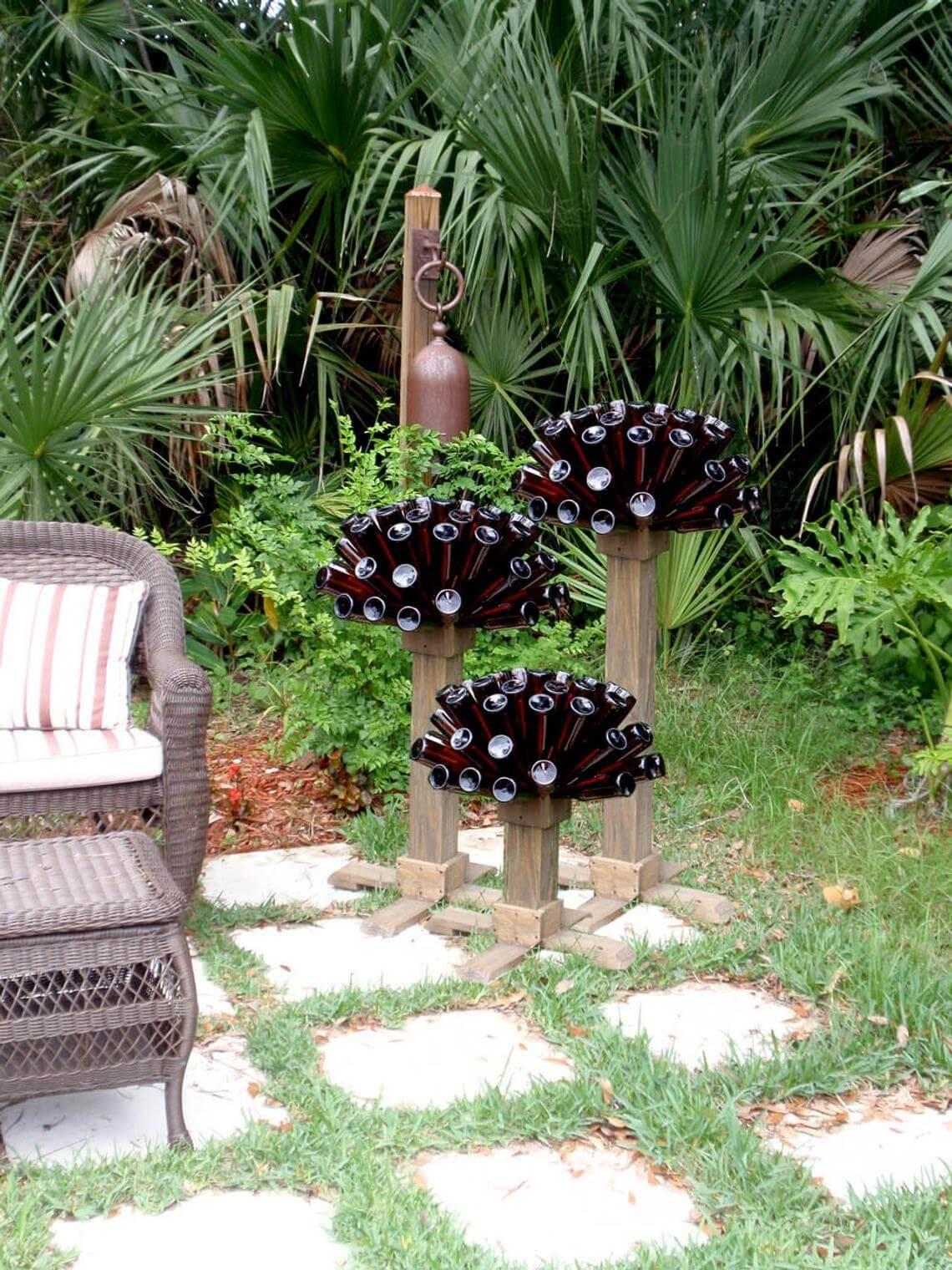 Towering Glass Bottle Decorative Garden Flowers