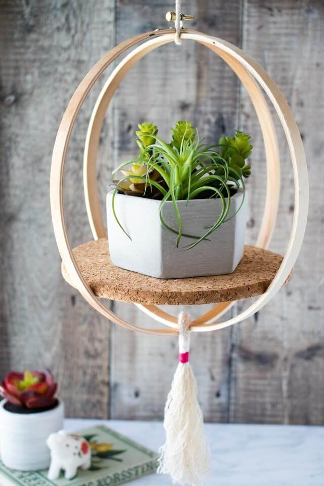 Handmade DIY Embroidery Circle Hanging Plant Holder