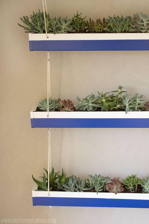 Repurposed Hanging Triple Succulent Planter