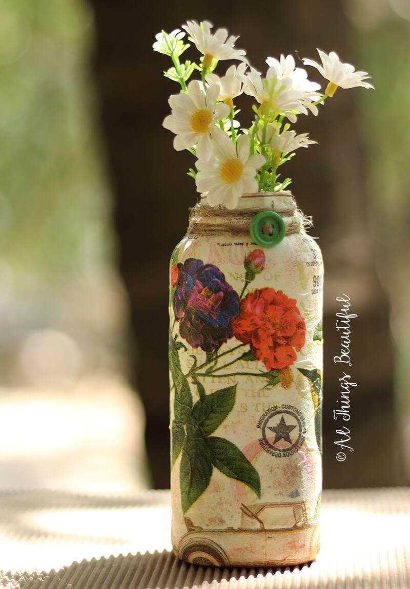 Decoupage Vintage Floral Motif Covered Vase