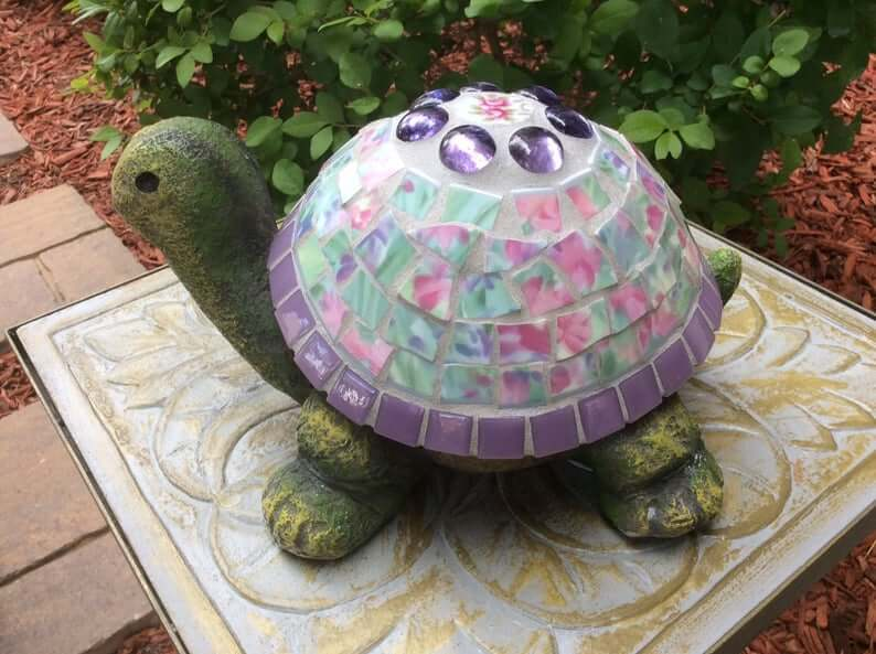 Pretty Glass Mosaic Turtle Statue