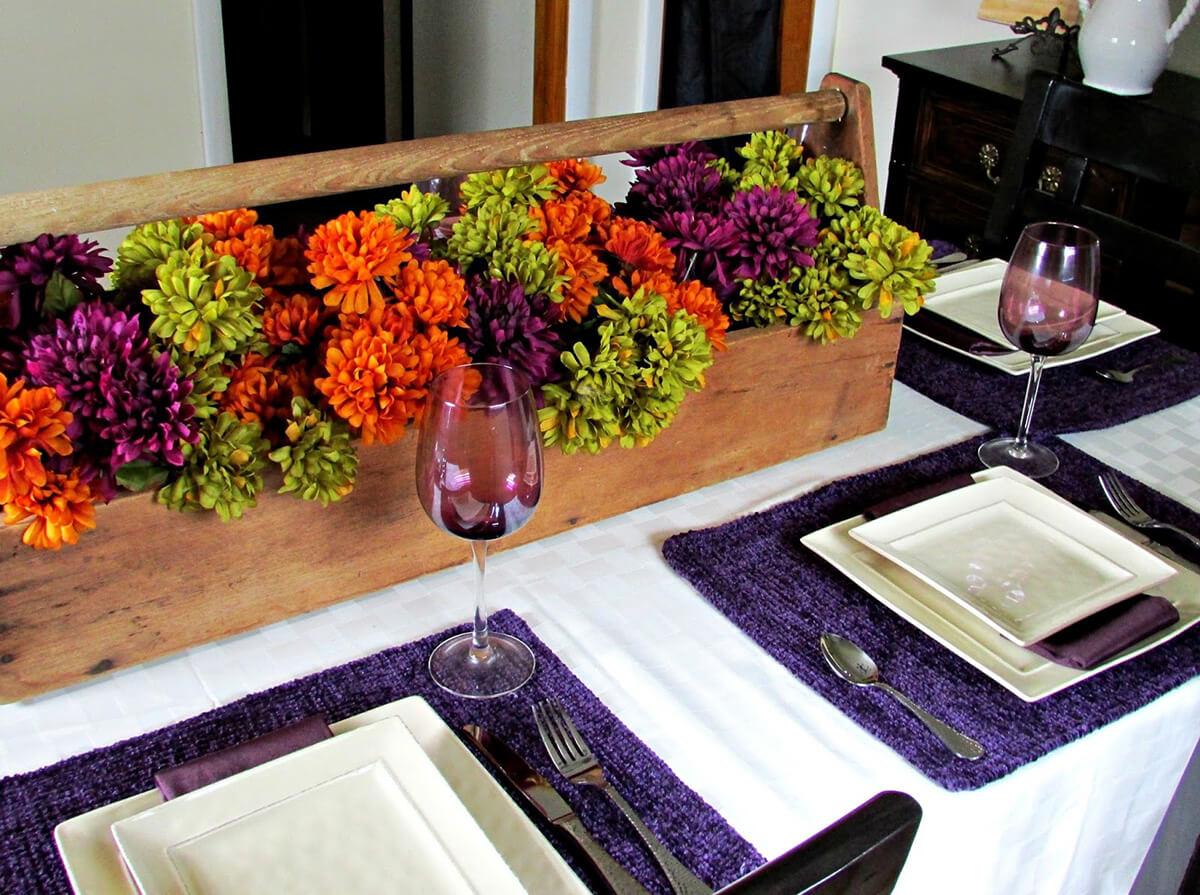 Colorful Boxed Centerpiece Flower Arrangement