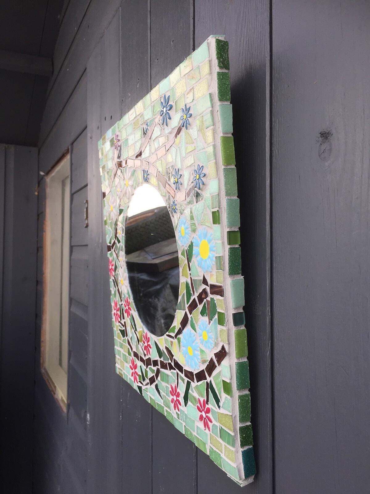 Hanging Floral Garden Mosaic Mirror