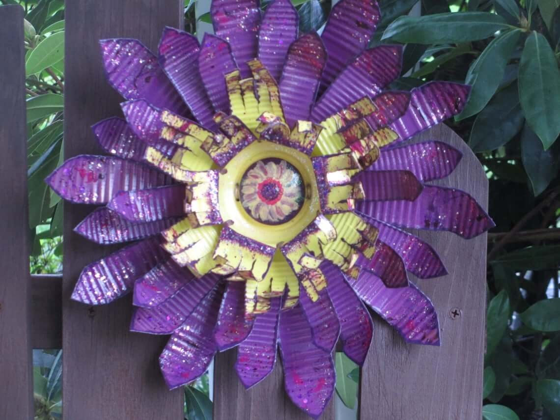 Purple Painted Corrugated Metal Flower Garden Art