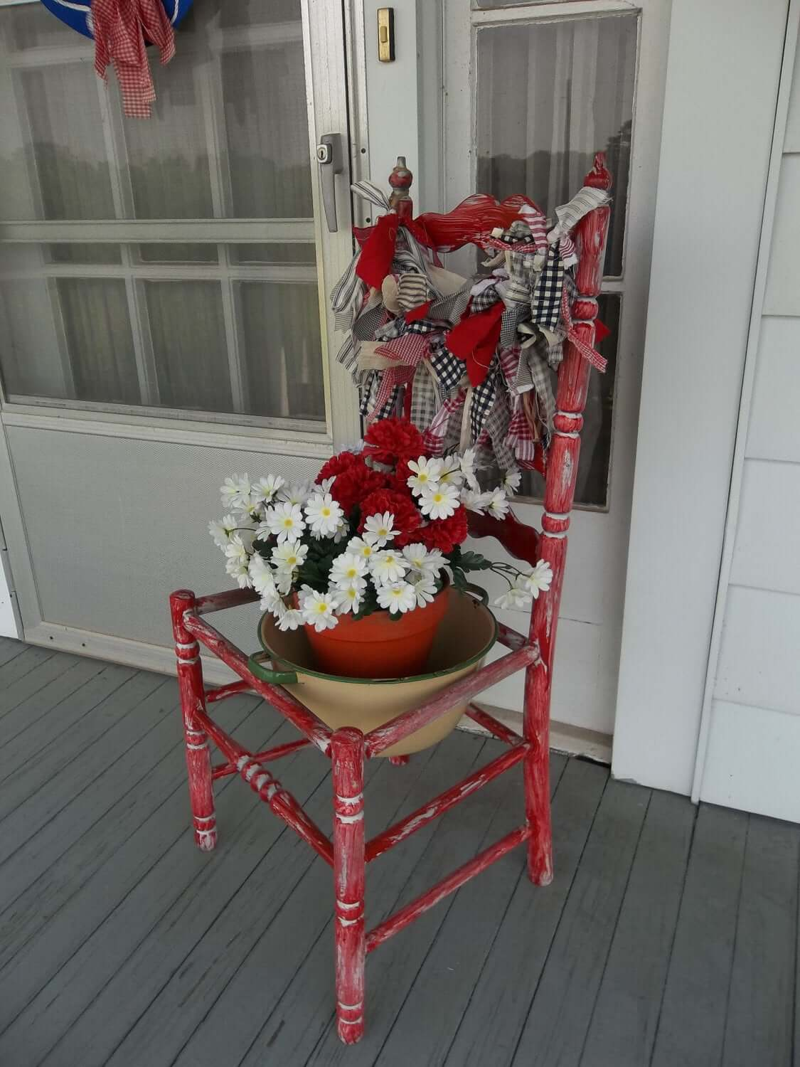 Patriotic Red White and Blue Chair Garland