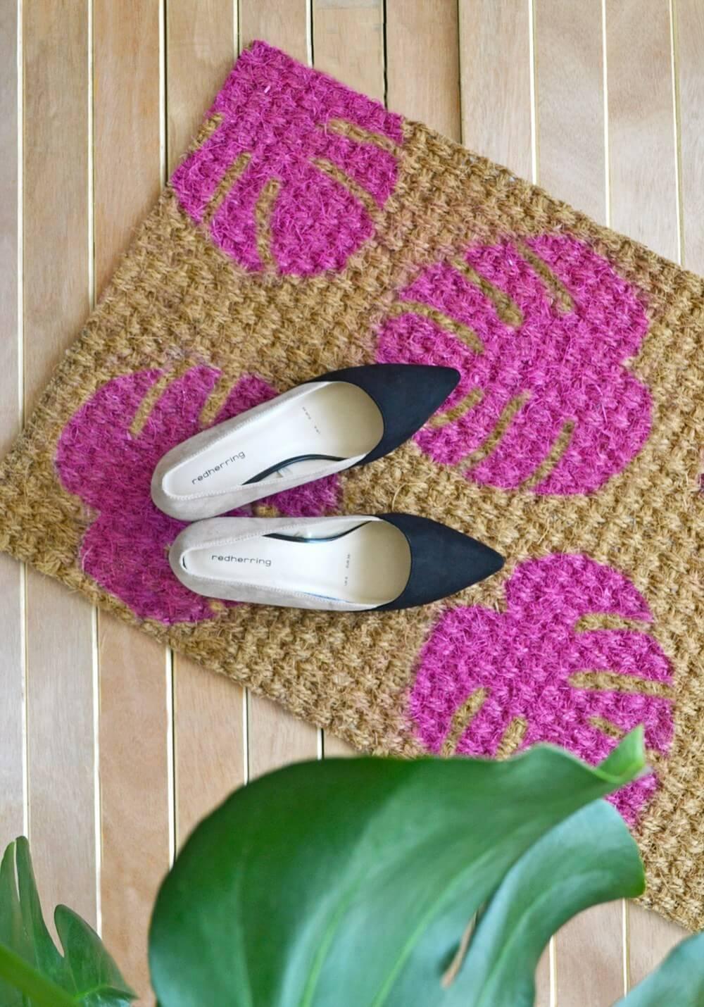 Pink Monstera Plant Printed Doormat