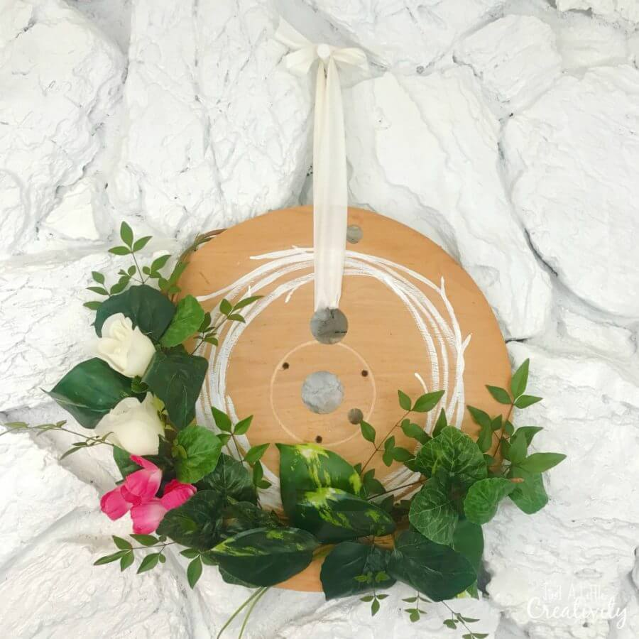Farmhouse Style Upcycled Cable Spool Spring Wreath