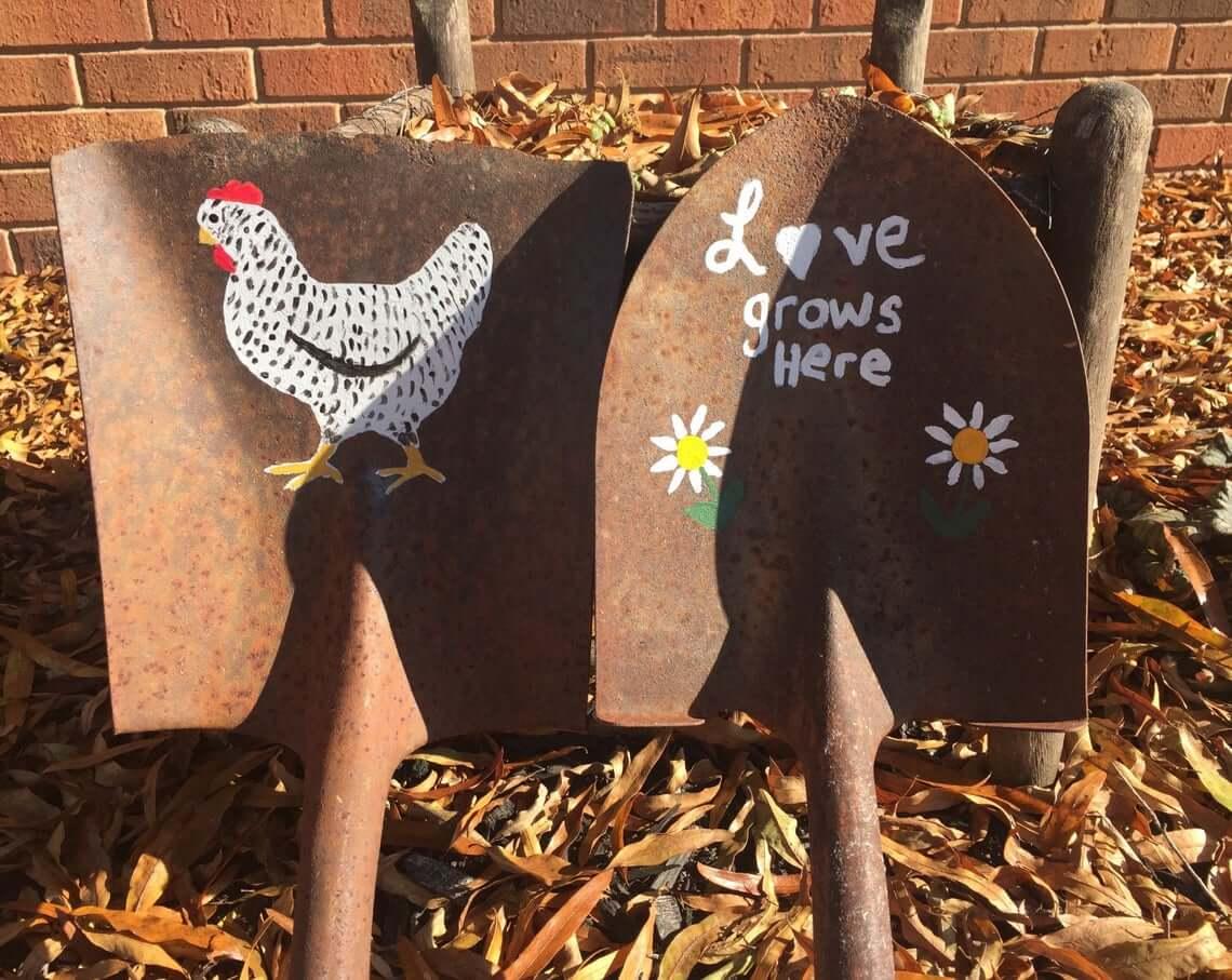Love Grows Here Upcycled Shovel Garden Art