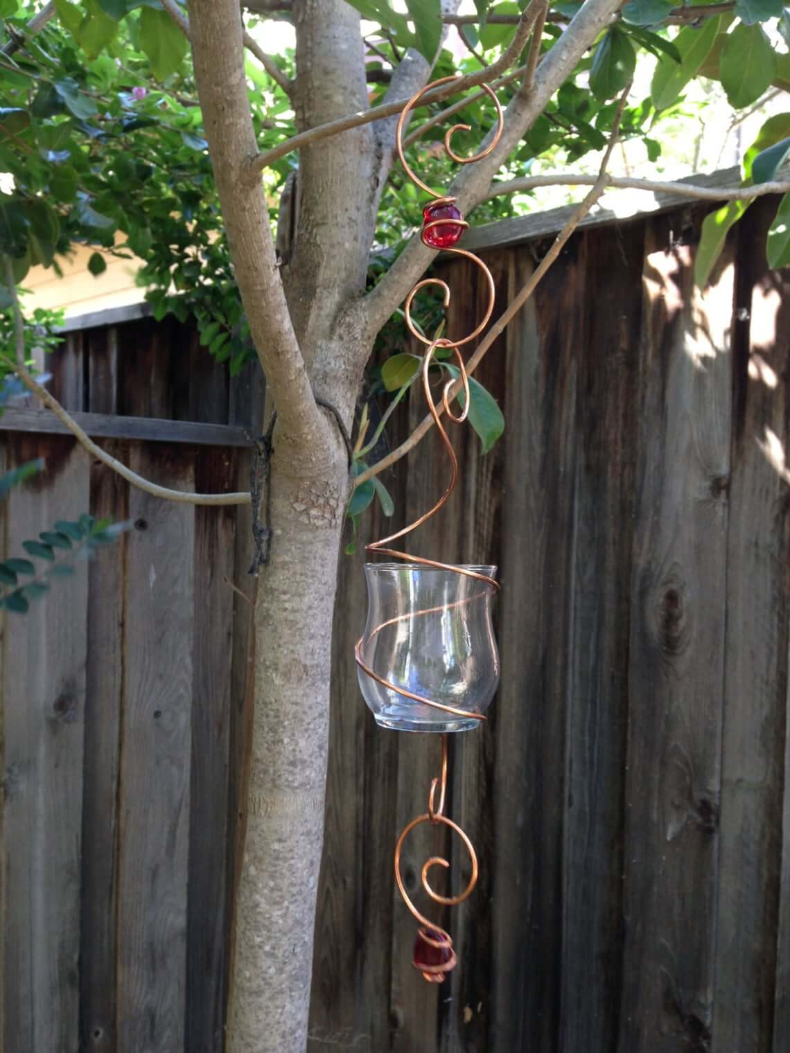 Creative Copper Wire Swirl Outdoor Candle Holder