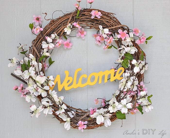 Cherry Blossom and Dogwood Grapevine Welcome Wreath