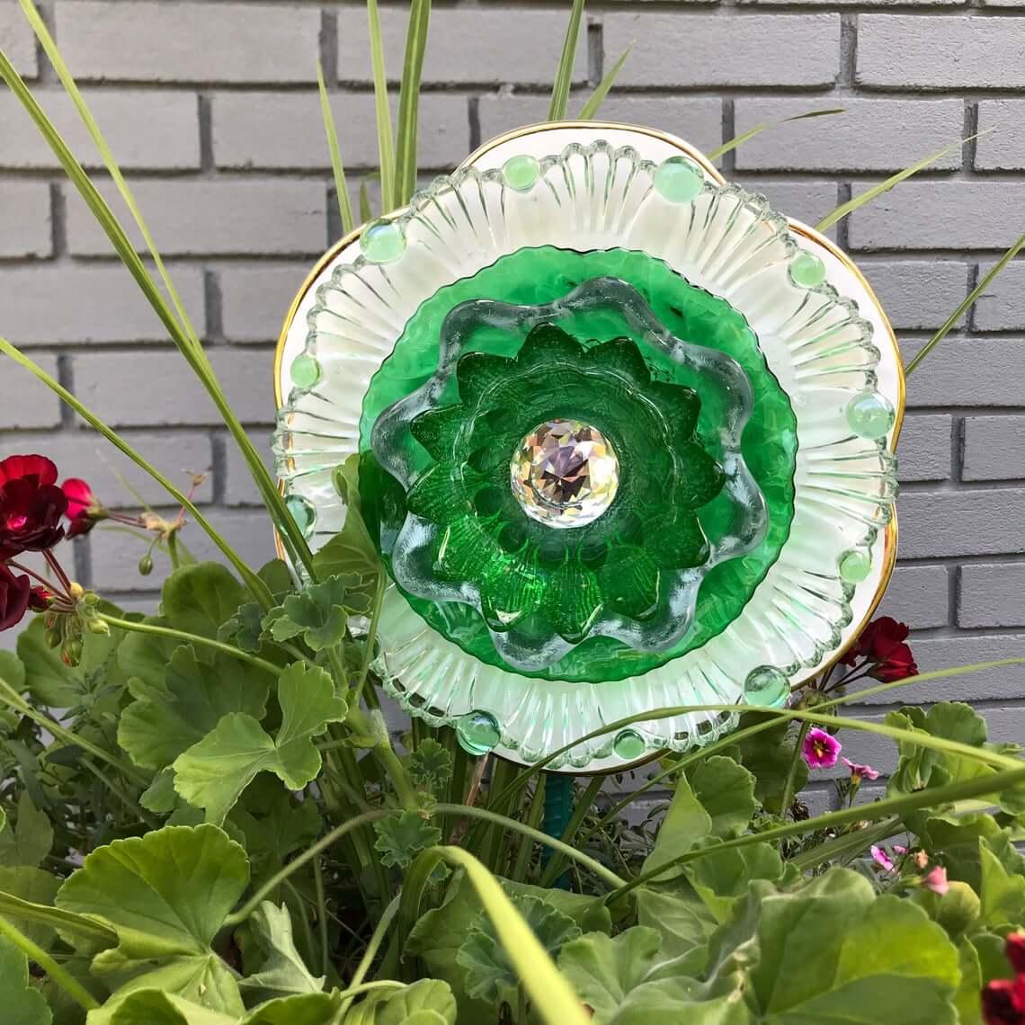 Reimagined Elegant Tea Saucer and Plate Jeweled Flower