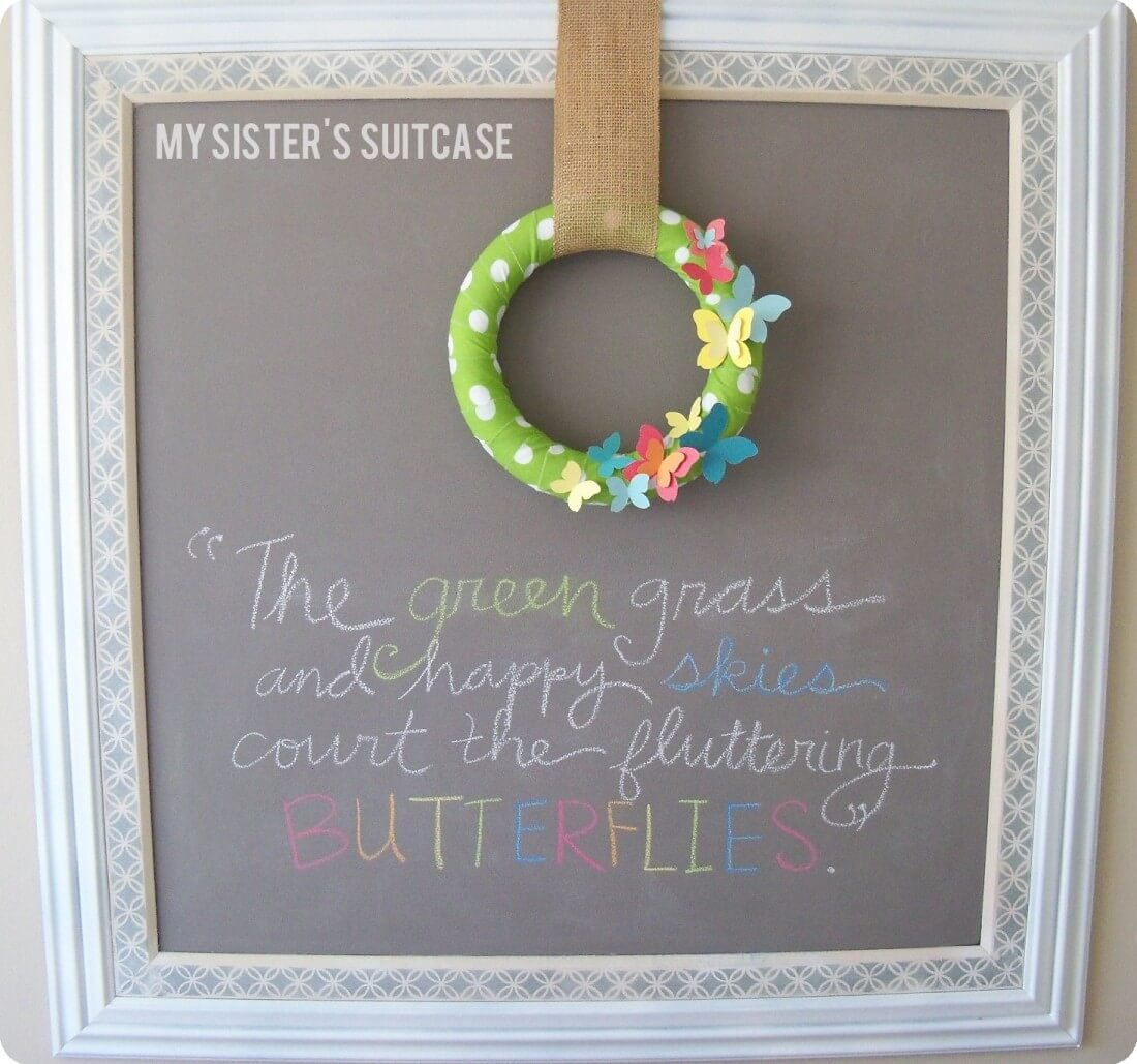Springtime Fabric and Paint Chip Butterfly Wreath