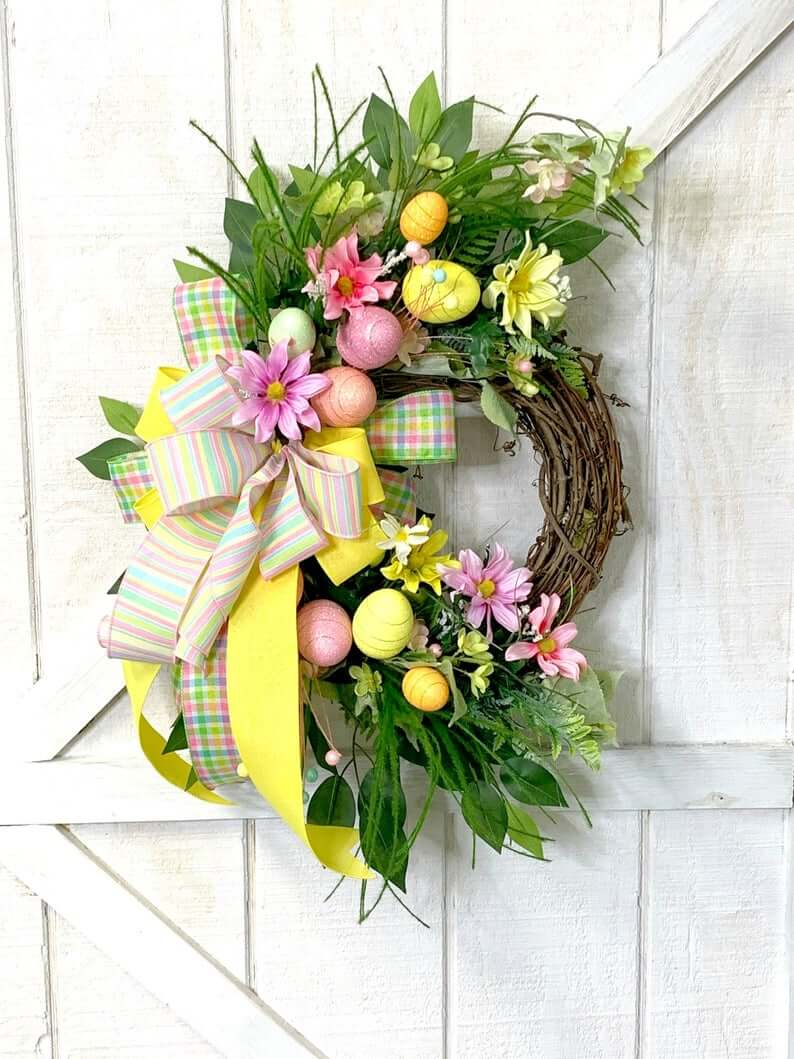Pretty Pastel and Plaid Easter Egg Wreath