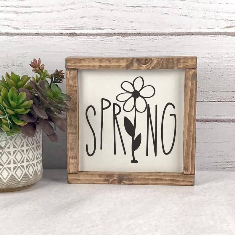 Rustic Framed Modern Farmhouse Spring Sign