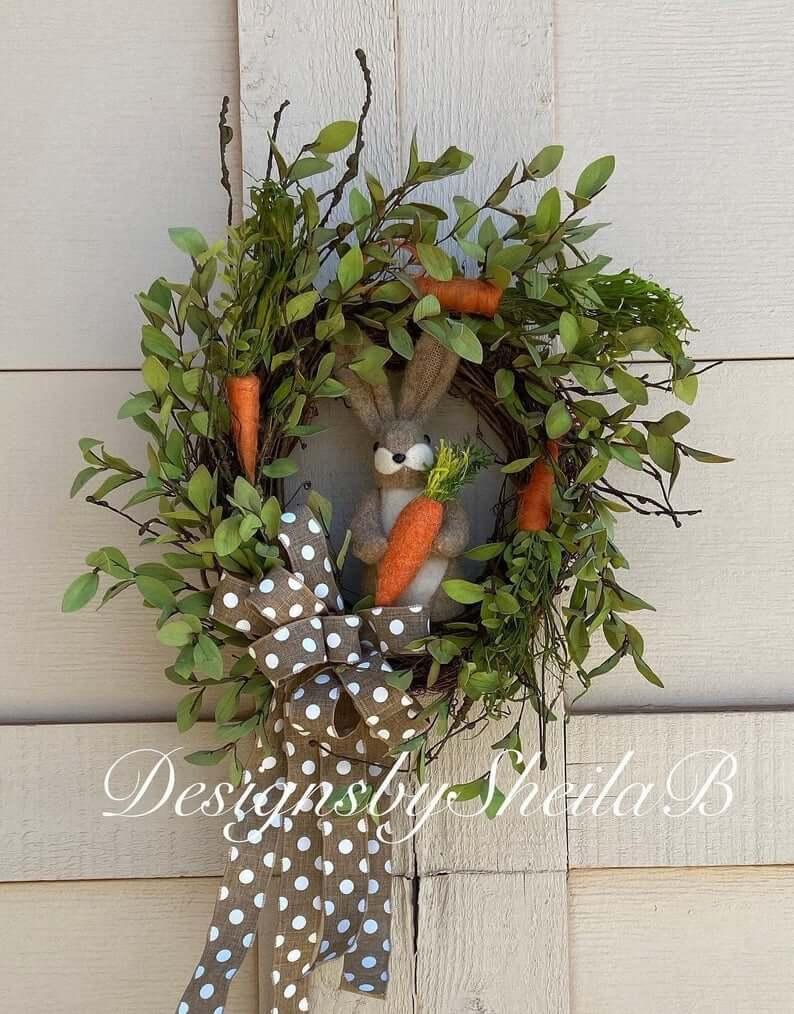Gorgeous Garden Bunny and Carrots Wreath