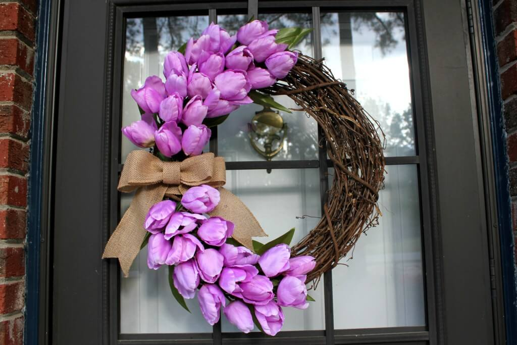 Grapevine Wreath with Tulips and Burlap Ribbon