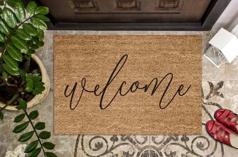 Hand-Painted Calligraphy Coconut Coir Doormat