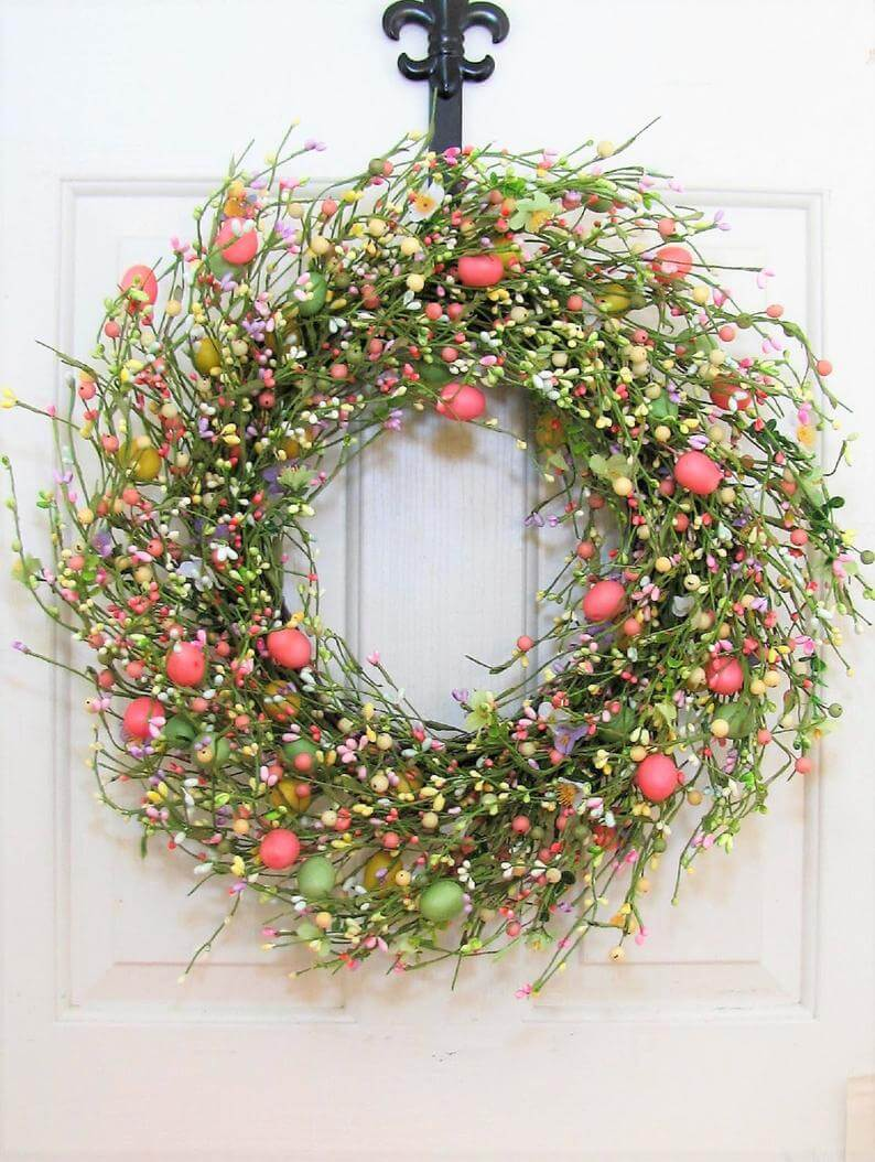 Green and Pink Berries and Eggs Wreath