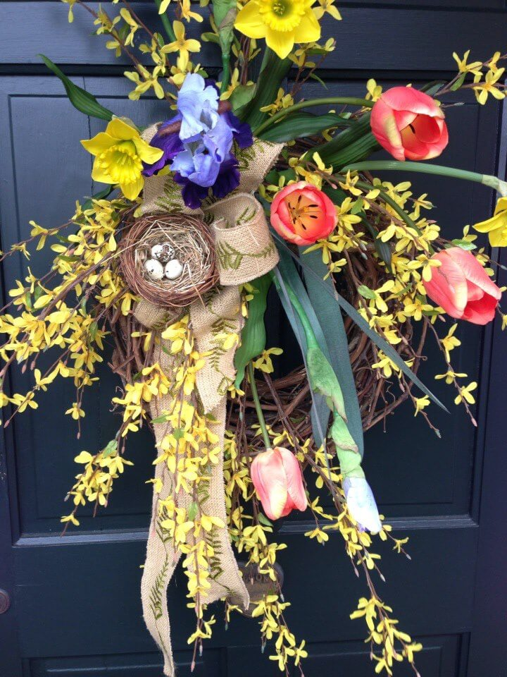 Burst of Spring Flowering Wreath with Nest