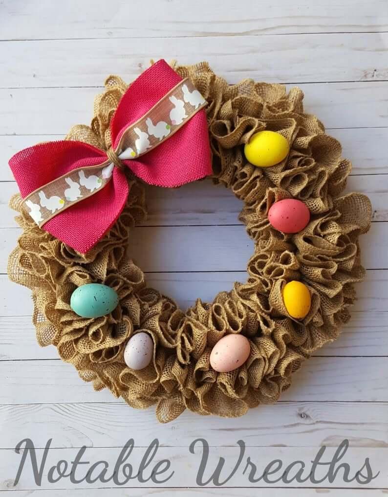 Burlap Bunny Bow Easter Wreath