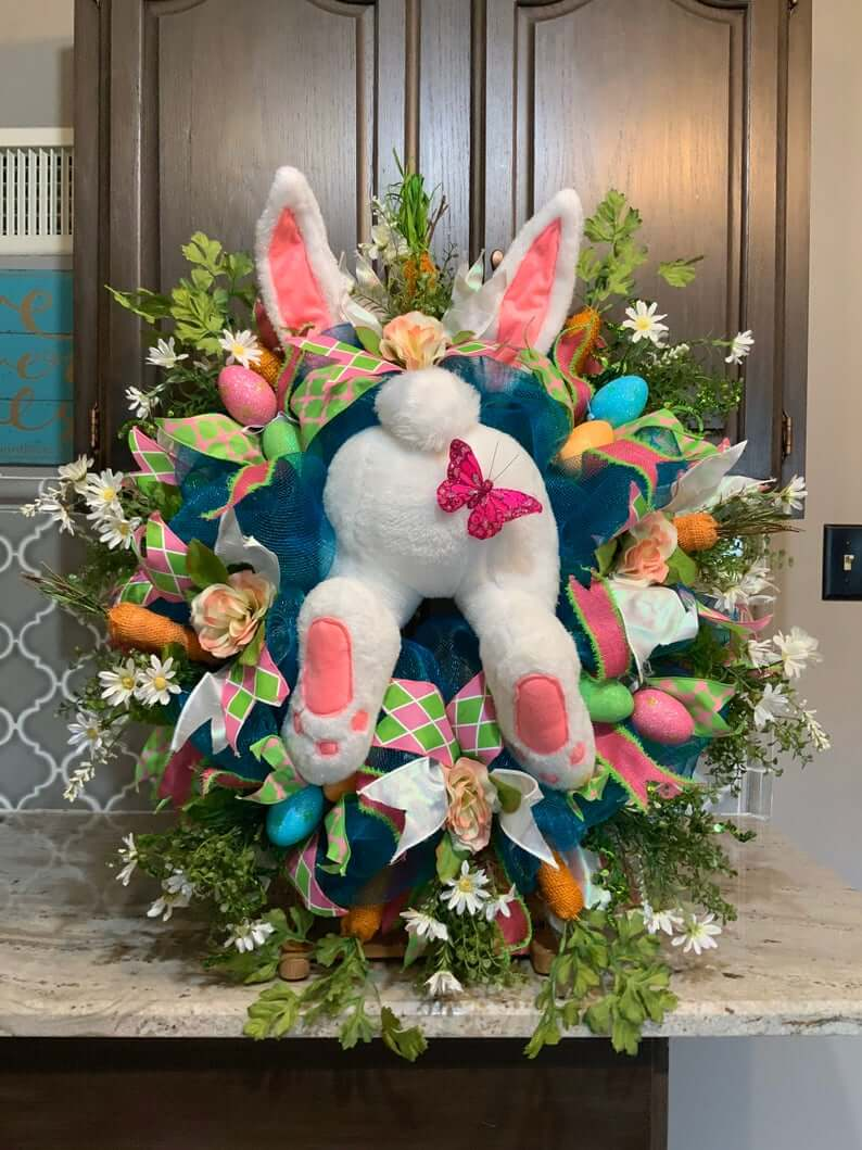 Head Over Heels Bunny Easter Wreath Decoration