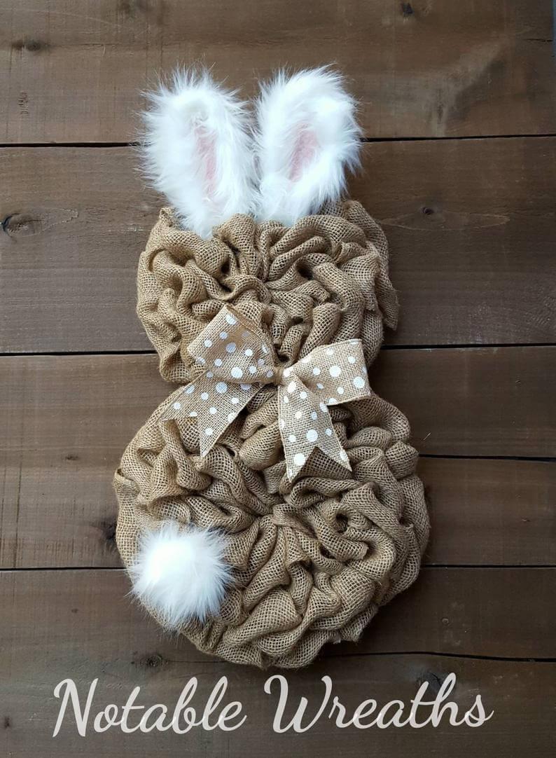 Burlap Bunny Shaped Fuzzy Ear Wreath
