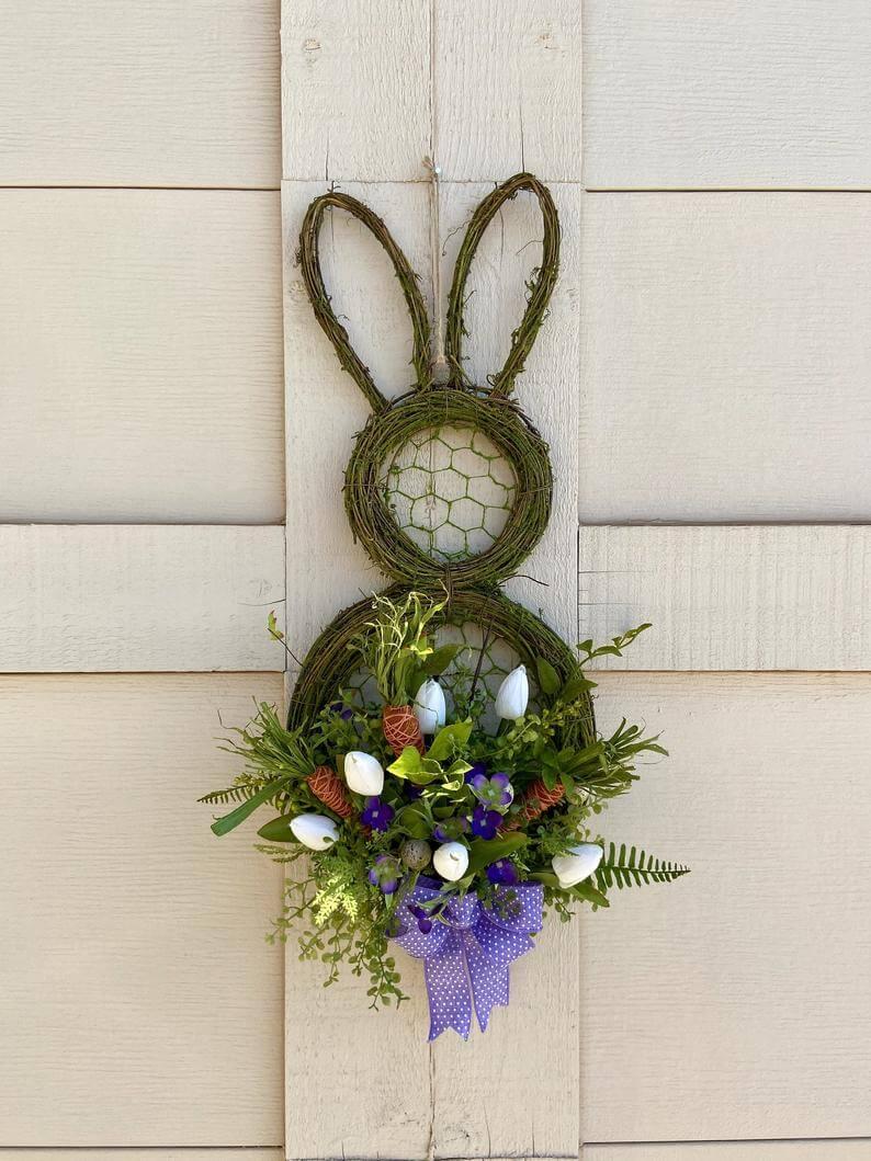 Grapevine and Chicken Wire Bunny Wreath
