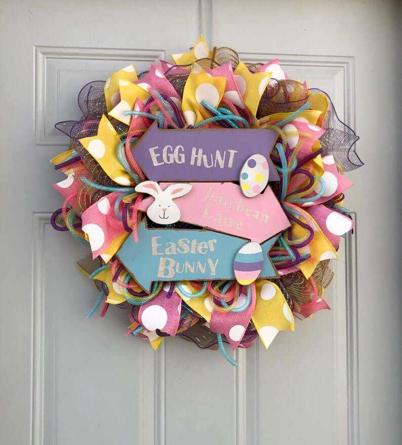 This Way to Easter Fun Pastel Wreath