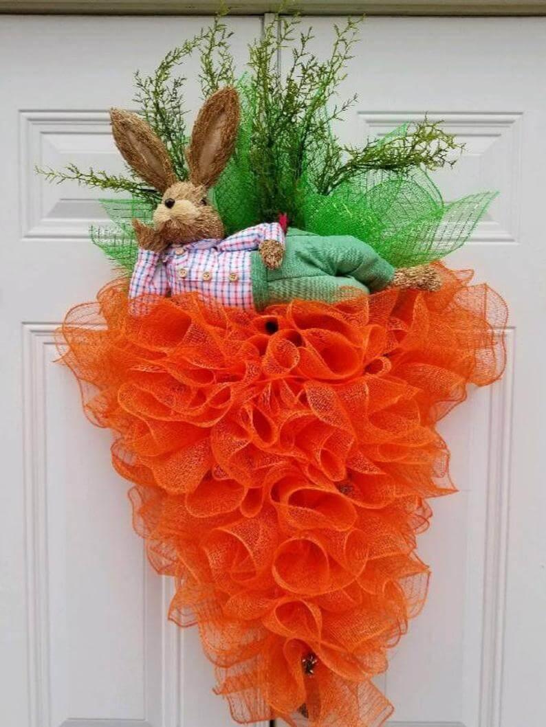 Lazy Bunny on Carrot Wreath