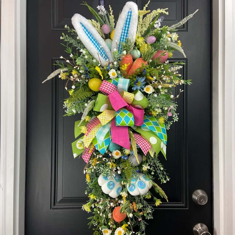 Hidden Bunny Floral Easter Swag