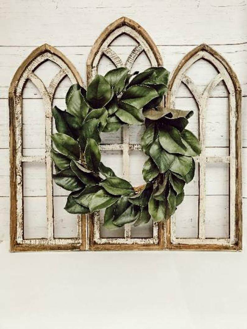 Wooden Cathedral Style Farmhouse Window Frame